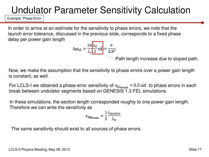 Undulator Parameter Sensitivity Calculation