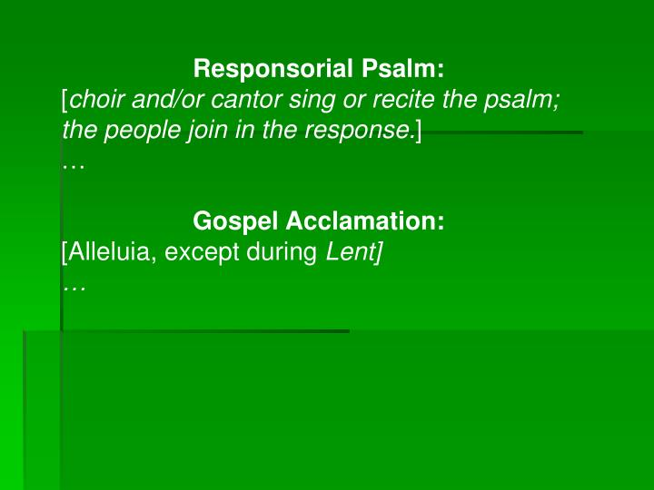 Responsorial Psalm: