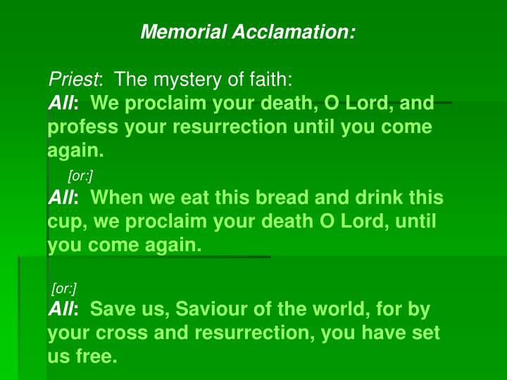 Memorial Acclamation: