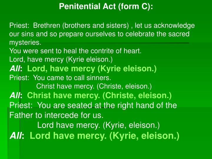 Penitential Act (form C):