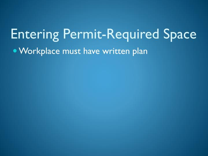 Entering Permit-Required Space