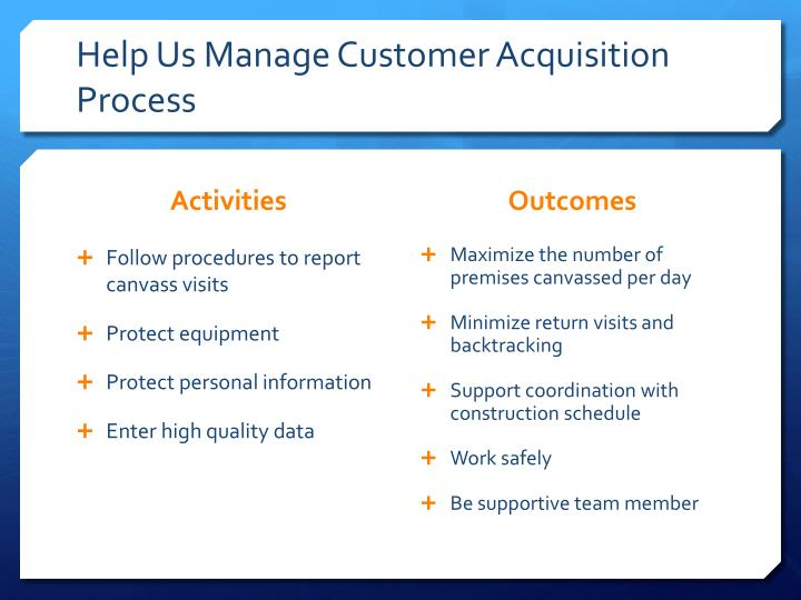 Help Us Manage Customer Acquisition Process