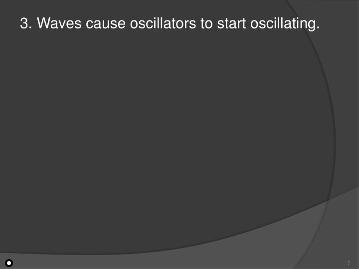 3. Waves cause oscillators to start oscillating.