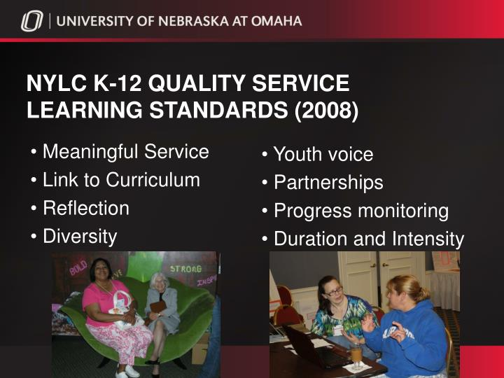NYLC k-12 quality service learning standards (2008)