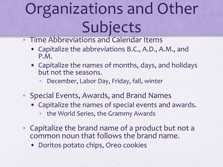 Organizations and Other Subjects