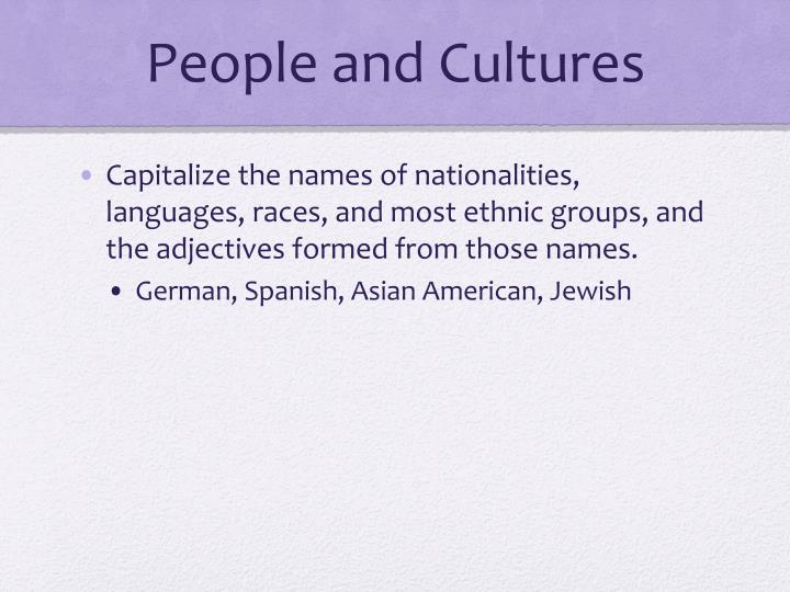 People and Cultures