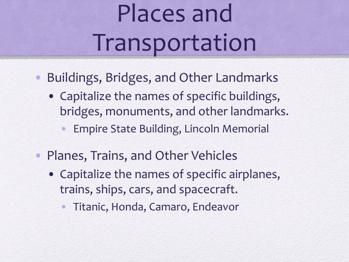 Places and Transportation