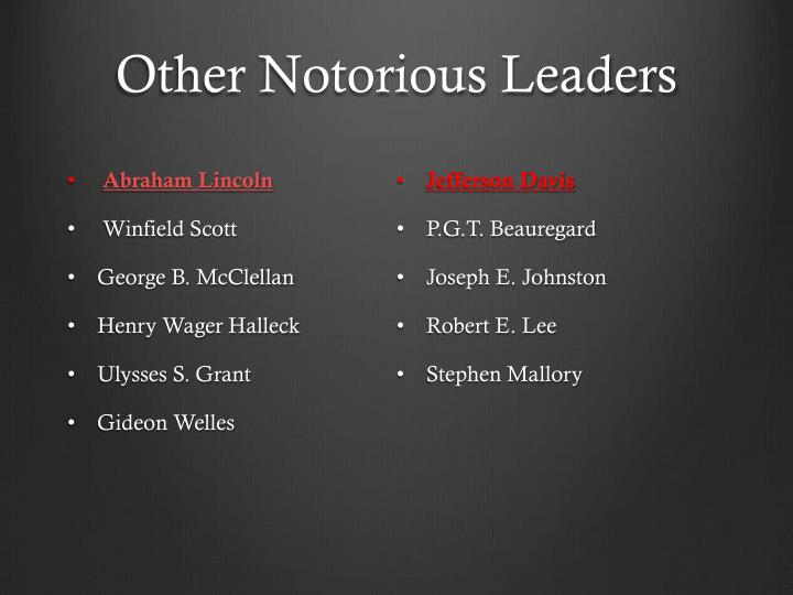 Other Notorious Leaders