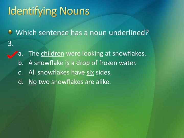 Identifying Nouns