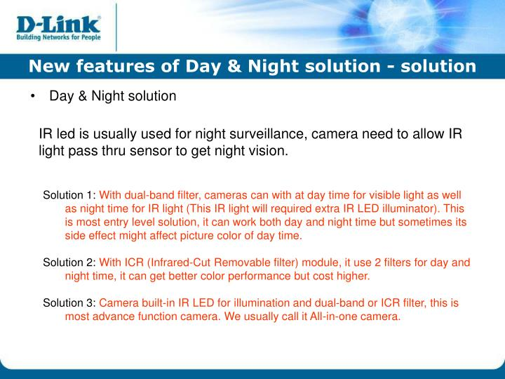 New features of Day & Night solution - solution