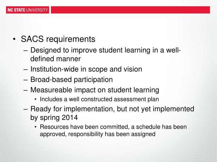 SACS requirements