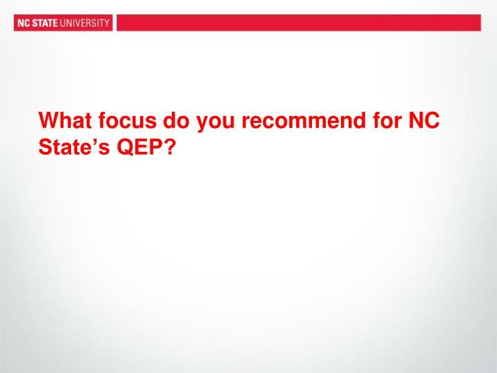What focus do you recommend for NC State's QEP?