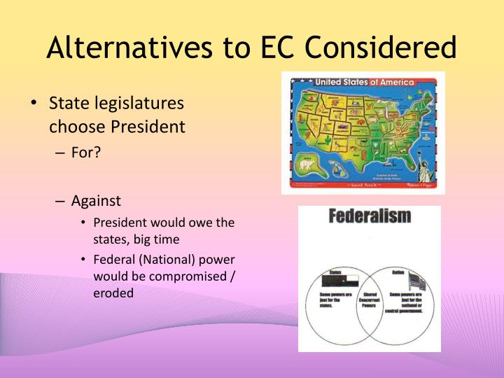 Alternatives to EC Considered