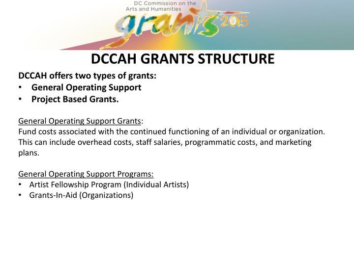 DCCAH GRANTS STRUCTURE