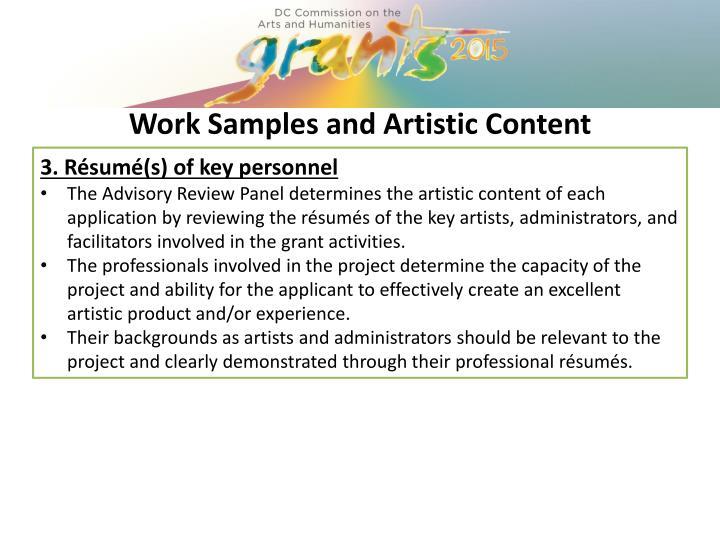 3. Résumé(s) of key personnel