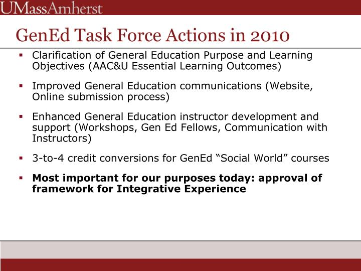 GenEd Task Force Actions in 2010