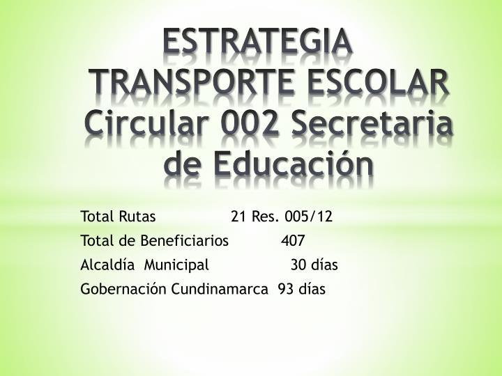 ESTRATEGIA TRANSPORTE ESCOLAR