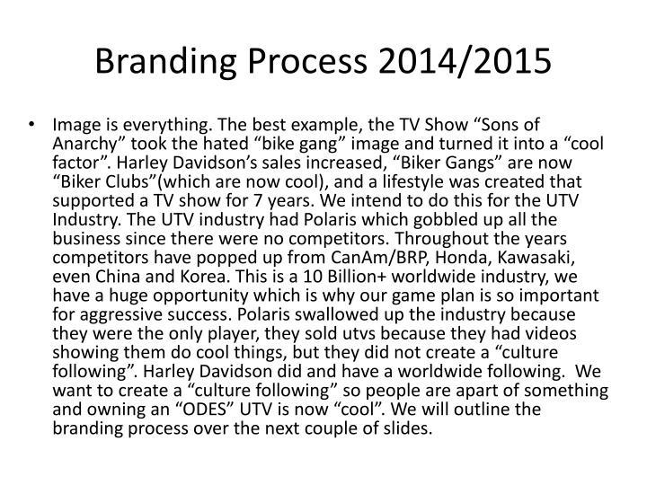 Branding Process 2014/2015