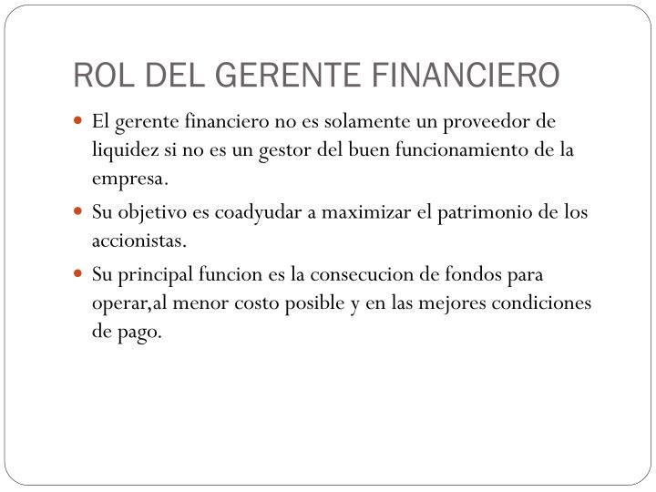 ROL DEL GERENTE FINANCIERO