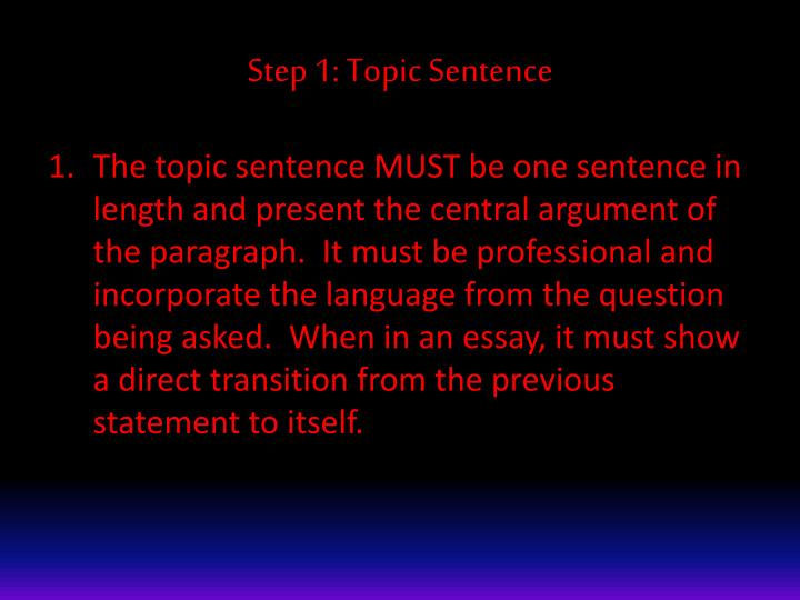 Step 1 topic sentence