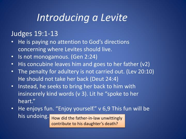 Introducing a Levite