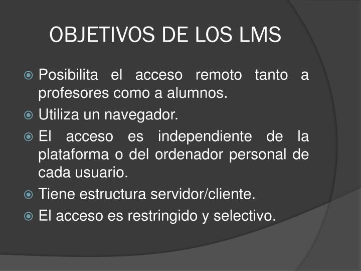 OBJETIVOS DE LOS LMS
