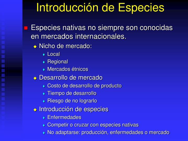 Introducción de Especies
