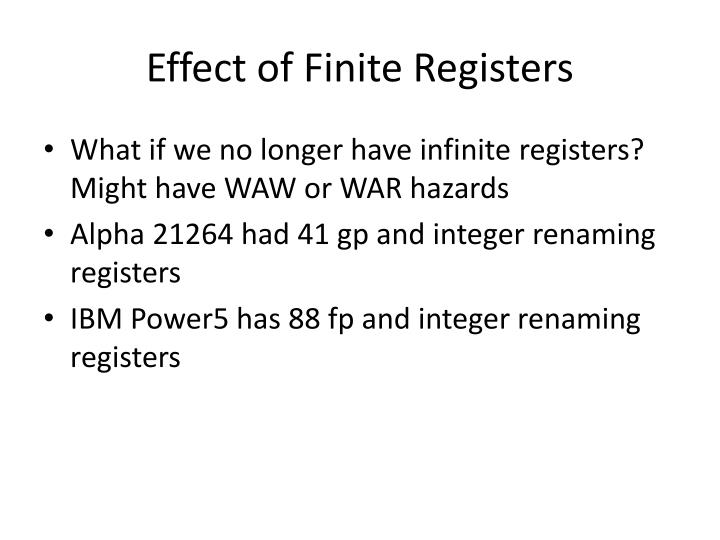 Effect of Finite Registers