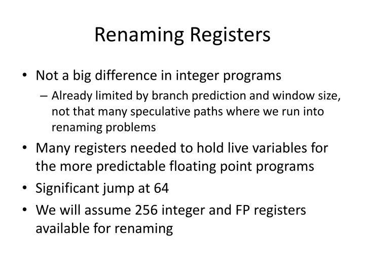 Renaming Registers
