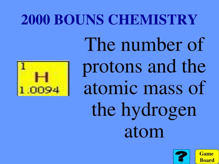 2000 BOUNS CHEMISTRY