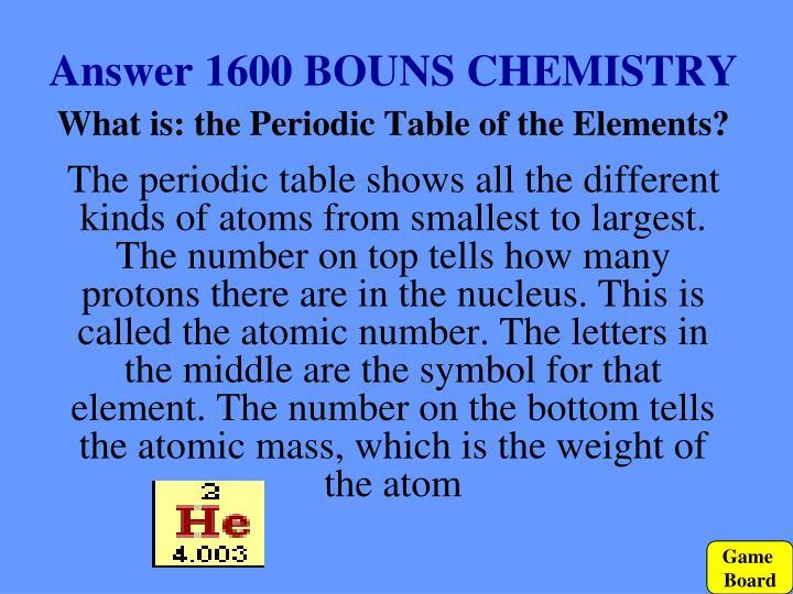 Answer 1600 BOUNS CHEMISTRY