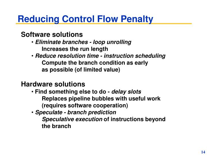 Reducing Control Flow Penalty