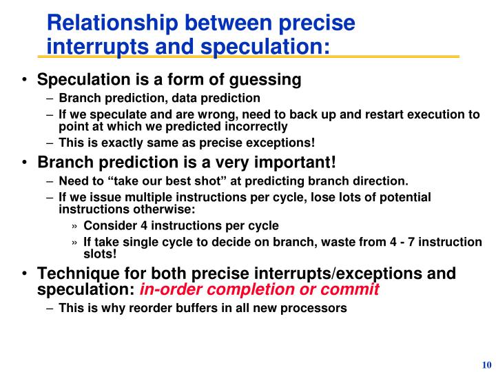 Relationship between precise interrupts and speculation: