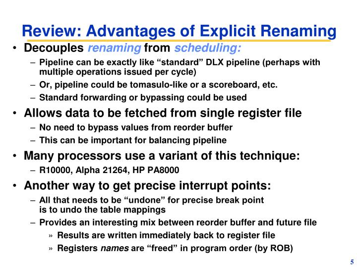 Review: Advantages of Explicit Renaming