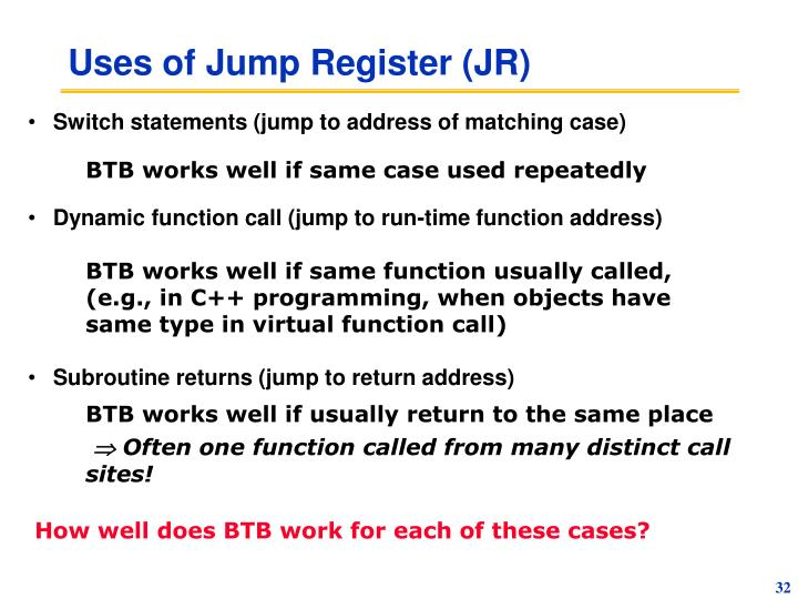 Uses of Jump Register (JR)