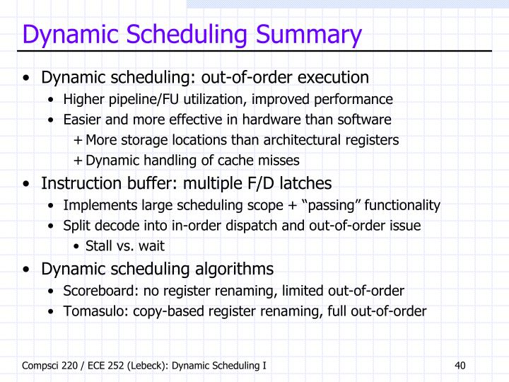 Dynamic Scheduling Summary