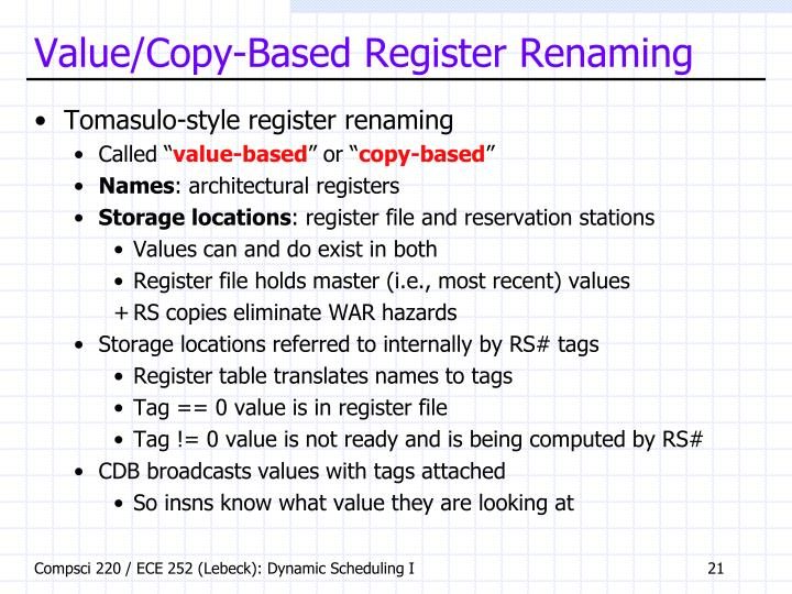 Value/Copy-Based Register Renaming