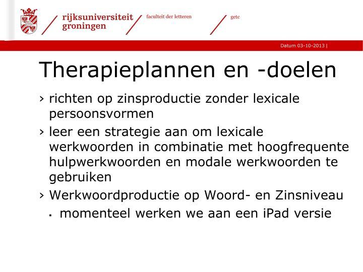 Therapieplannen en -doelen