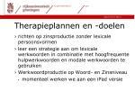 therapieplannen en doelen