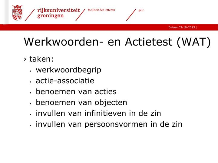 Werkwoorden- en Actietest (WAT)