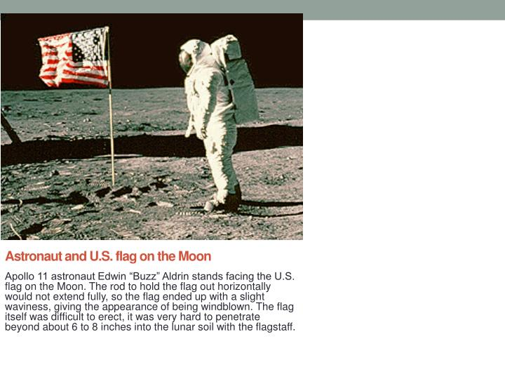Astronaut and U.S. flag on the Moon