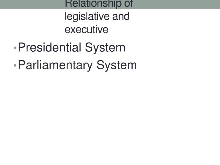 Relationship of legislative and executive
