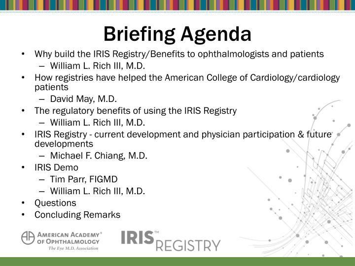 Briefing Agenda