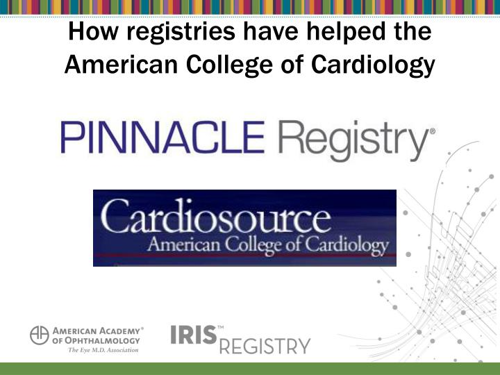 How registries have helped the American College of Cardiology