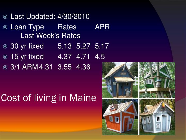 Cost of living in Maine