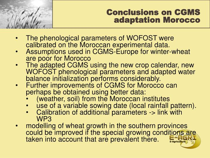 Conclusions on CGMS adaptation Morocco