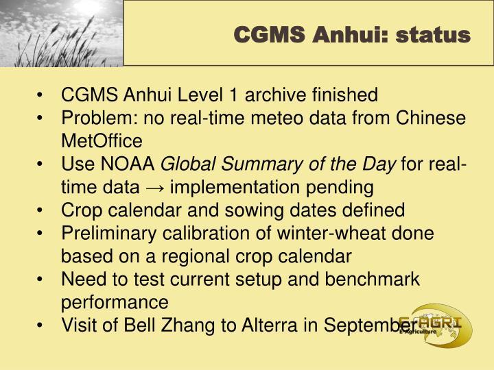 CGMS Anhui: status