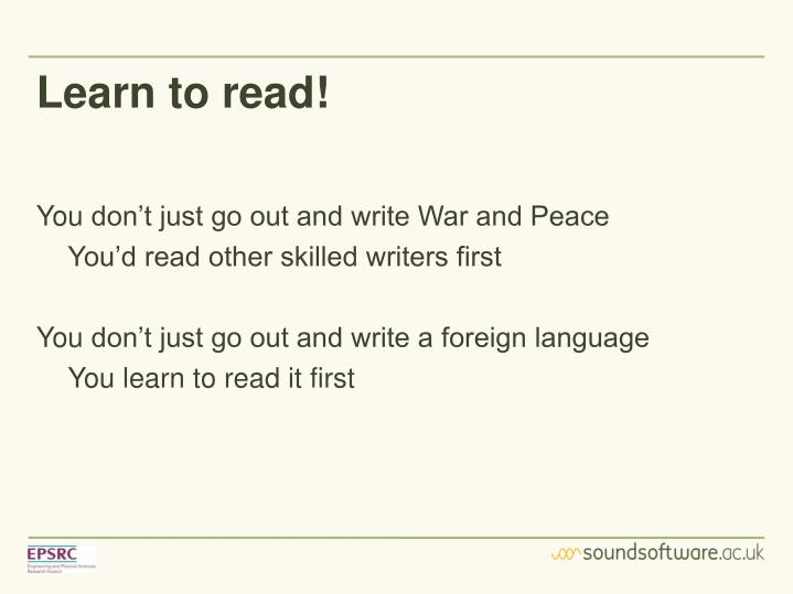 Learn to read!