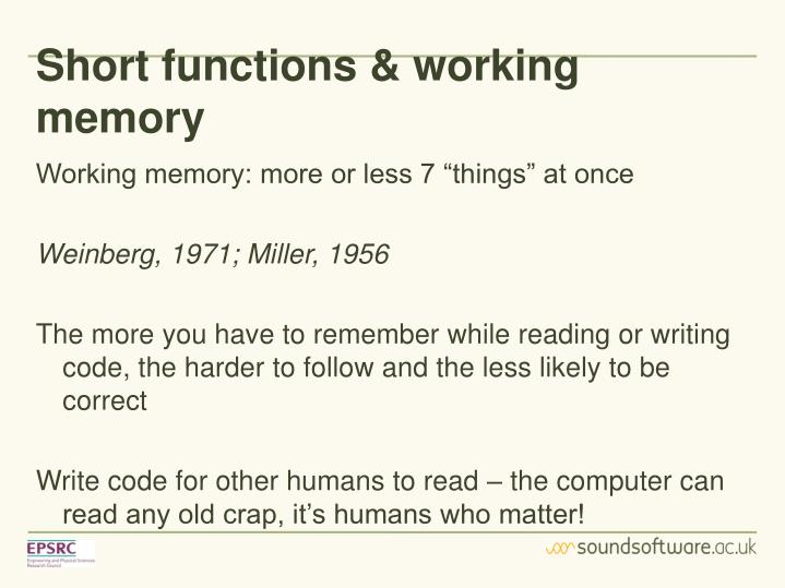 Short functions & working memory