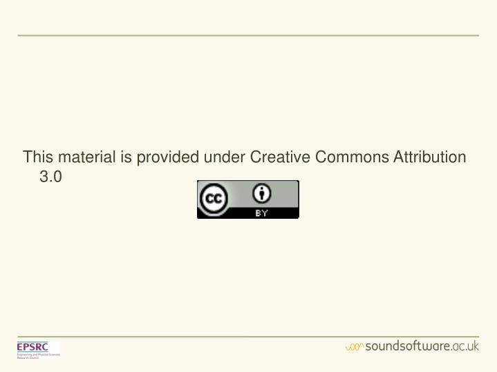 This material is provided under Creative Commons Attribution 3.0